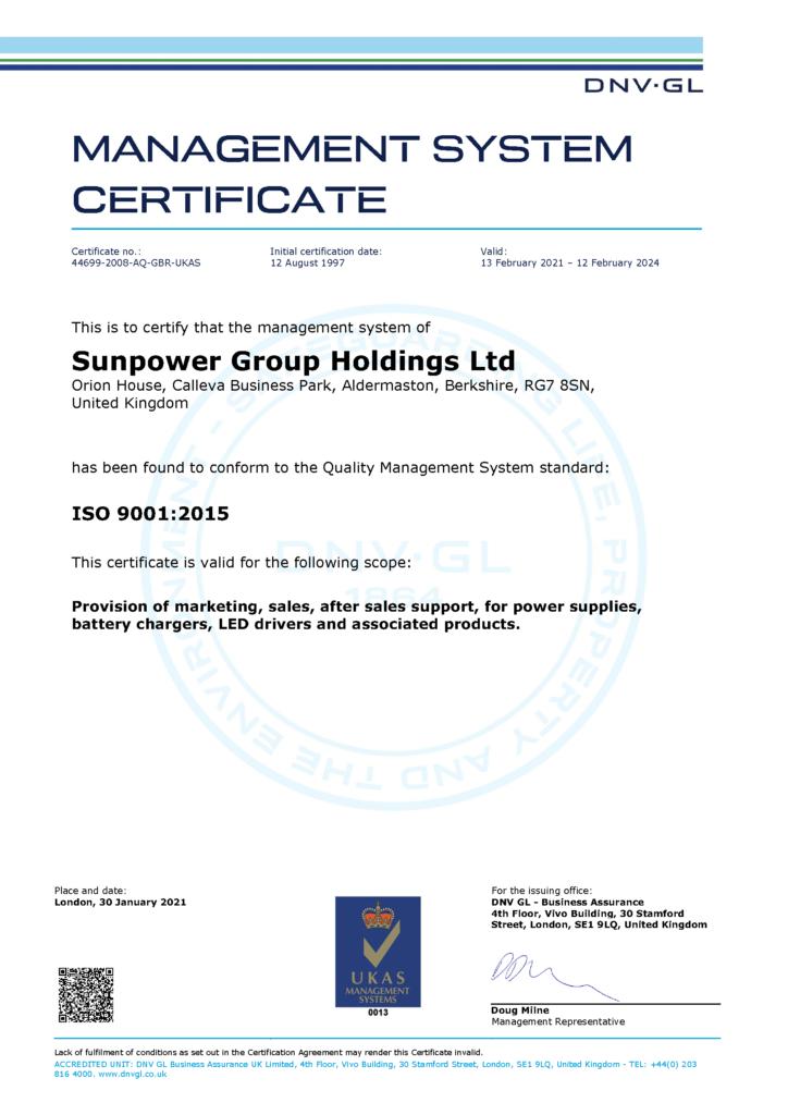 Sunpower Group Holdings Ltd - ISO 9001:2015 DNV Management System Certificate
